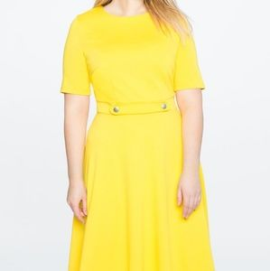 Eloquii Size 26 Elbow Sleeve Fit and Flare Dress